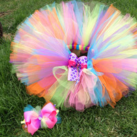 Colorful girl's tutu with matching hair bow- Colorful Birthday Tutu- Baby Toddler Child Girl tutu skirt