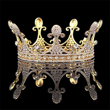 Gold Silver Queen King Tiara Crown Headdress Prom Bridal Wedding Hair Jewelry Accessories Pageant