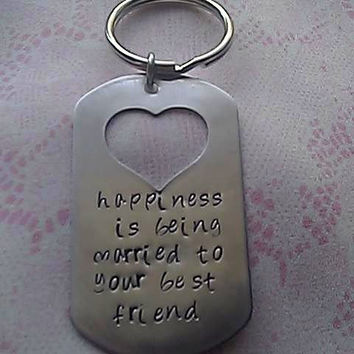 Personalized Hand Stamped Stainless Steel Heart Key Chain Her or Him