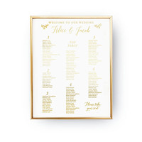 Wedding Table Plan, Wedding Wall Decor, Real Gold Foil Print, Wedding Signs, Wedding Decoration, Wedding Print, Gold Foil Sign Wedding