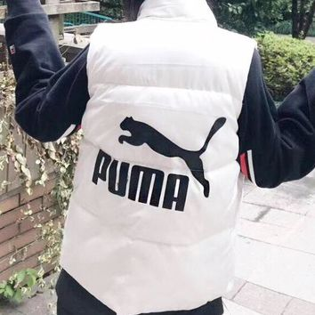 PUMA Autumn Winter New Fashionable Women Casual Print Vest Waistcoat Zipper Cardigan Jacket Coat White