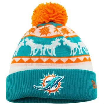 Mens Miami Dolphins New Era Blue/Orange Mooser Cuffed Knit Beanie w/Pom