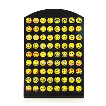ac spbest New Design 36 Pairs Emoji Funny Happy Face Stud Earring for Women Girls Trendy Ear Jewelry Gifts