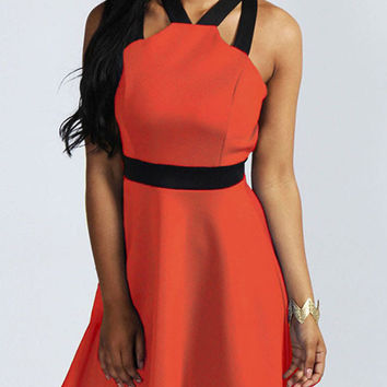 Orange Halter Criss Cross Back Skater Dress