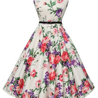 Women's Halterneck Flower Print 1950's Vintage Tea Dress
