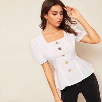 Puff Sleeve Button Detail Peplum Top White Vintage Square Neck Asymmetrical Ruffle Hem Women Tops Blouses