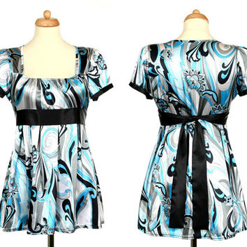 Blue Gray Black White Abstract Floral Tunic - Vintage Woman Clothing