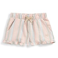 Girl's Roxy 'Ruffled Feathers' Striped Shorts,