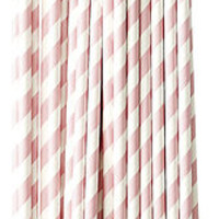 Set Of 30 Pink Stripy Paper Straws
