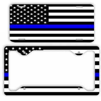 Thin Blue Line Police License Plate Frame Car Tag