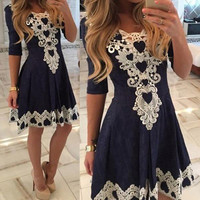 Half-sleeve Shaped Lace Ladies One Piece Dress [6328833153]