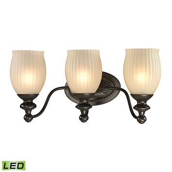 Park Ridge 3-Light Vanity Lamp in Oil Rubbed Bronze with Reeded Glass - Includes LED Bulbs