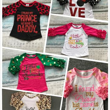 Easter baby girls love leopard three quarter cotton boutique cute top T-shirt raglans clothing ruffles little miss print prince