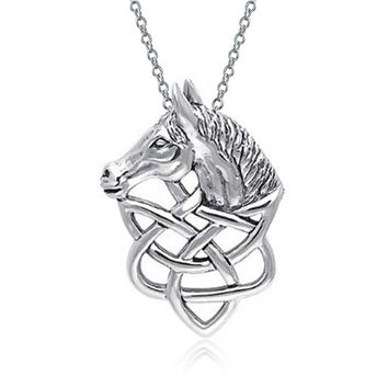 Thoroughbred Horse Celtic Equestrian Sterling Silver Pendant Necklace