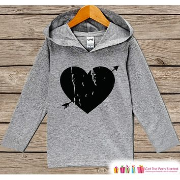 Kids Valentines Day Outfit - Kids Hoodie - Black Heart Arrow Valentine Pullover - Valentine's Day Outfit - Baby, Kids, Toddler Shirt