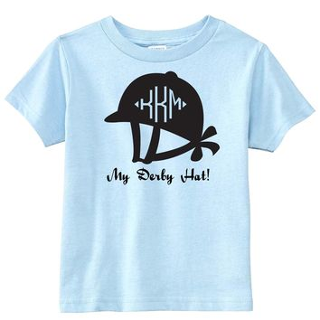 Derby Hat with Monogram on Baby Blue T-Shirt