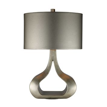 Carolina Table Lamp In Silver Leaf With Metallic Silver Shade Silver Leaf