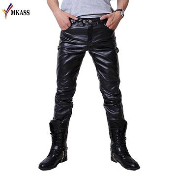 2017 Hip Hop Mens Leather Pants Faux Leather Pu Material 3 Colors Motorcycle Skinny Faux Leather Casual Pants