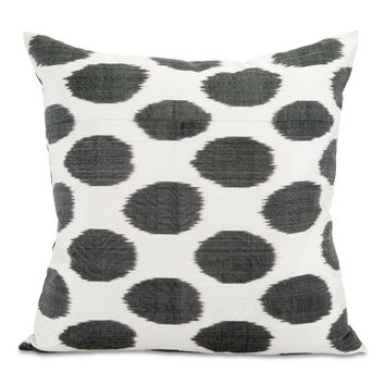 Black Spotted Ikat Pillow