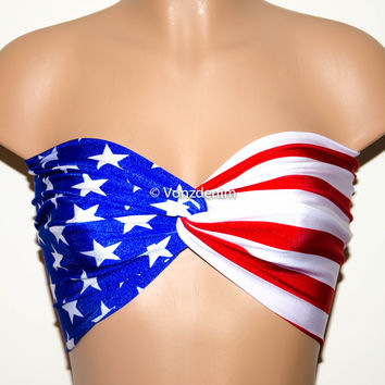 PADDED American Flag Bandeau, Beach Bra Swimsuit Top, Bikini Top Bandeau, Spandex Bandeau, Twisted Tops Bathing Suits, Patriotic Bandeau