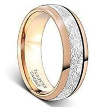 8mm Rose Gold Tungsten Carbide Ring Meteorite Inlay Wedding Band