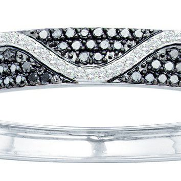 14kt White Gold Womens Round Black Colored Diamond Bangle Bracelet 2-1/2 Cttw