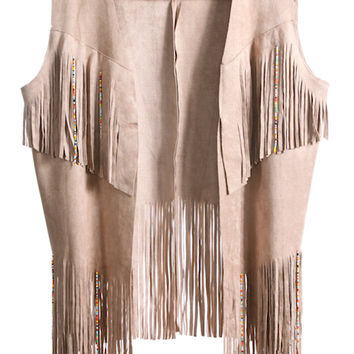This must have 70's inspired layer lightweight faux suede vest for those crisp night features open front, sleeveless, finished with asymmetrical fringe hemline and multi color beaded detailing accents. Pair with white cropped top, denim cut off and ankle b