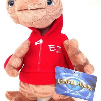 "universal studios 9"" E.T. extra terrestrial red sweatshirt plush toy new with tags"