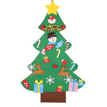 DIY Felt Christmas Tree Wall Decorations Hanging Ornaments for Kids Xmas Gifts Home Door Window Decor