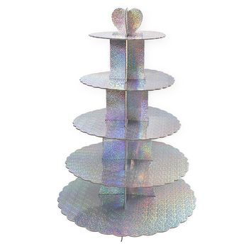 Cupcake Stand Tiered – 5-Tier Colorful Cupcake Stand Tower, Pastry Cupcake Holder, 15.5 x 22.5 x 15.5 inches