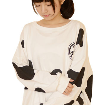 Cow Graphic Printed  Loose Sweatshirt