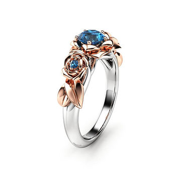Blue Diamond Engagement Ring White Gold Ring Rose Engagement Ring Gold Diamond Ring