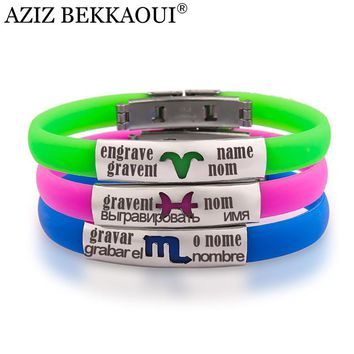 AZIZ BEKKAOUI Silicone Bracelet Bangle for Women Man 21CM Adjustable ID Bracelet for Kid Stainless Steel Engraved Name Bracelets