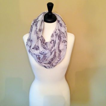 Music Note Infinity Scarf by KnitPopShop