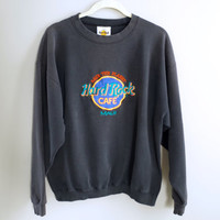 Vintage Hard Rock Cafe Sweatshirt Maui - Faded Black - Size Large