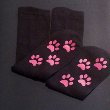 Paw print socks - cat socks - kitty socks - funny socks - cat lover gift - teen girl gift - teen stocking stuffer