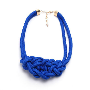 Knot Knot Necklace - Cobalt Blue