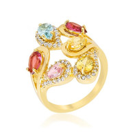 Multi-color Cocktail Ring, size : 05