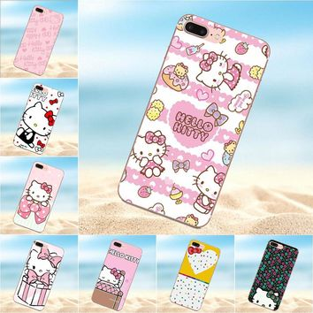 Qdowpz For Apple iPhone 4 4S 5 5C 5S SE 6 6S 7 8 Plus X TPU Phone Skin Cute Hello Kitty My Melody Bow