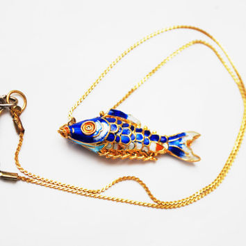Blue Enamel Articulate Fish Necklace - gold chain - blue white red enameling -