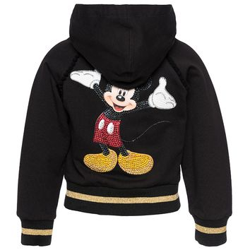 MONNALISA Mickey Mouse Hoodie Sweatshirt Zippered Top