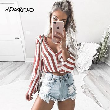MOARCHO Women 2017 Striped Shirts V-neck Long Sleeve Casual Spring and Autumn Blouses Women Red White Striped Tops Blusas