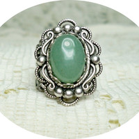 Ring - Green Adventurine Ring - Vintage Style Ring - Sale - Free Shipping