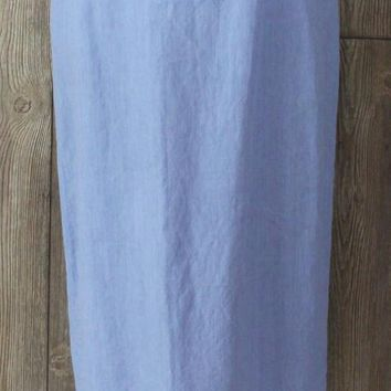 Nice Eileen Fisher Linen Skirt L size Light Blue Lightweight Straight Elastic Waist