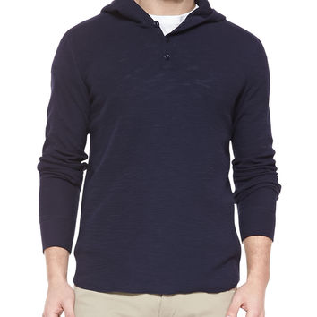 Slub Knit Hooded Henley, Navy, Size: