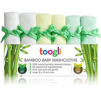 Toogli Ultra Soft Bamboo Baby Washcloth Set (6 Pack)|Best Wash Cloths for Sensitive Skin - Thick 32 Gram Weight - Large 10 x 10 Inch Reusable Wipes|Ideal Baby Shower/Registry Gift for Any Wanelo Mom