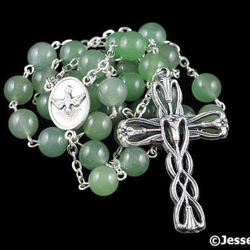 Anglican Rosary Beads Green Aventurine Natural Stone Prayer Beads Silver Christian Episcopal Rosary