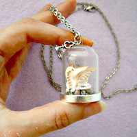 OOAK Game of Thrones dragon necklace - Viserion on Dragonstone glass terrarium
