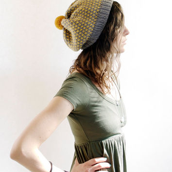 Slouchy Knit Hat with Pom Pom - Mustard & Grey