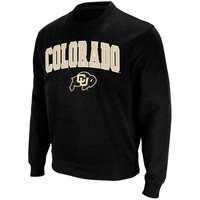 Men's Stadium Athletic Black Colorado Buffaloes Arch & Logo Crew Pullover Sweatshirt